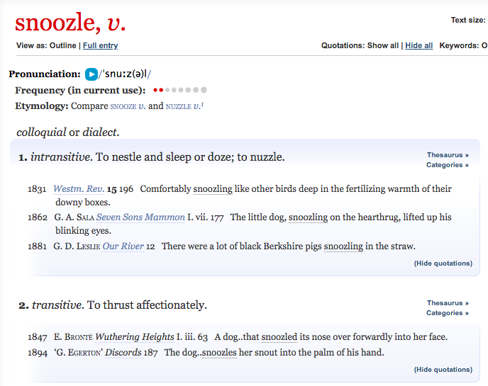 Snoozle Definition, OED