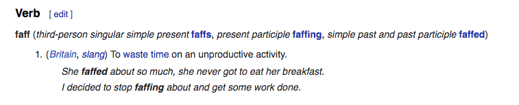 Faffing, Wiktionary definition